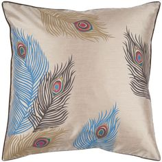 Peacock Feather 18 x 18 Pillow $21, feather