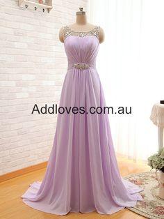 A-Line Long Lilac Chiffon Prom Dresses