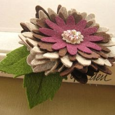Layered Felt and Wool Flower Brooch  Brown and by PrettyinPosies