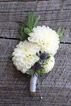 white dahlia boutonniere
