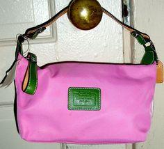 Coach Small PINK GREEN Leather Trim Satchel Bag PURSE W/Hang Tag   #Coach #Satchel