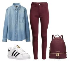 """Tomorrow's outfit."" by crazygirlandproud ❤ liked on Polyvore featuring Uniqlo, H&M, adidas, Michael Kors, cute, red, teen, me and teenwear"