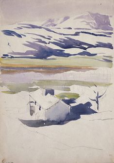 Sketch of mountain landscape in snow 1909 Beatrix Potter: Place as Inspiration - Victoria and Albert Museum