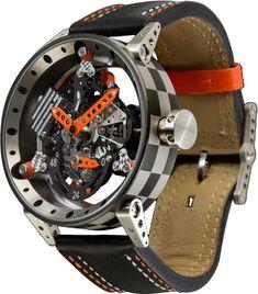 B.R.M. Watches R-50 Orange Hands #bezel-fixed #bracelet-strap-leather…