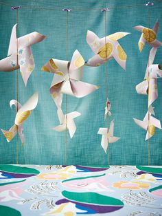 Look what happened when stylist Emily Blunden got her hands on Laura Ashley wallpaper + fabric. #paper #windmills