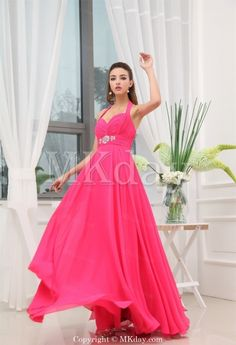 Fuchsia Floor-Length Sleeveless Chiffon Halter Prom Dress