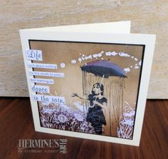 Banksy Rain Under Umbrella Girl 2 x 4 Girl In Rain, Dancing In The Rain, Umbrella Girl, Banksy, Cool Cards, Making Ideas, Cardmaking, Birthday Cards, Bee