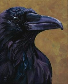 Portrait+of+a+Crow+SOLD,+painting+by+artist+Ria+Hills
