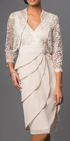 Short formal khaki dress with v-neck, lace, chiffon, sleeve, jacket - Women Dresses for Every Age! Mother Of The Bride Plus Size, Mother Of The Bride Dresses Long, Mother Of Bride Outfits, Mothers Dresses, Bride Groom Dress, Bride Gowns, Mob Dresses, Plus Size Dresses, Wrap Dresses