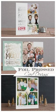 Pressed foil card designs from Minted.  Free printable for organizing your Christmas card list included!