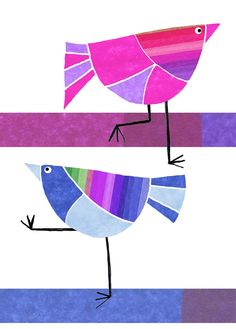 Blue and fuchsia birds Tracey English Stained Glass Birds, Bird Quilt, Animal Quilts, Bird Illustration, Art Graphique, Fabric Painting, Bird Art, Art Lessons, Art For Kids