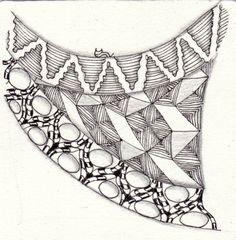 Ein Zentangle aus den Mustern Rautyflex, Copada, Fang, gezeichnet von Ela…