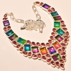 "EXCELLENT FACETED MULTI TOURMALINE SHINING - 925 EBAY STORE SILVER NECKLACE 18""…"