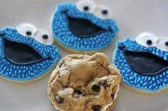 Cookie Monster Decorated Sugar Cookies by SugarLaneBakeShop, $33.20