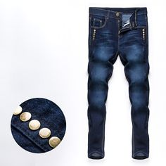 >> Click to Buy << New 2017 male fashion boutique pure color rivets adornment blue Leisure jeans / Male high-grade slim foot casual jeans pants #Affiliate