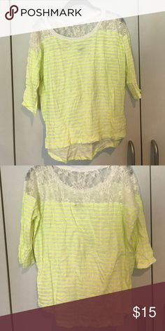 Neon lace long sleeve shirt Great for vacation and summertime! Express Tops Tees - Long Sleeve