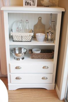 Old dresser redo. Obviously, there are a million versions of this on pinterest, but I thought this might be a good idea for Scarlett. You could put stuff she can get for herself on the bottom (pull-on tops and pants, pj's, hair bows, etc. in baskets on the lower shelf) and stuff she can't/shouldn't get at higher up... Maybe even replace the lower drawers with baskets???
