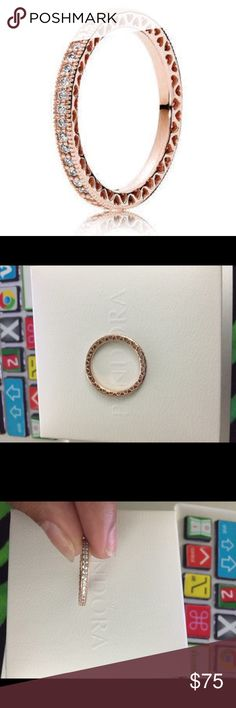 Pandora hearts ring Worn few times. I bought it last month. No box included. Size 56=7.5 rose gold Pandora Jewelry Rings