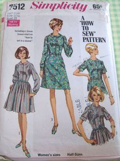 Vintage Simplicity Sewing Pattern 7512 Misses' Shirt-Dress with Two Skirts..size 12 1/2..bust 35