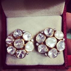 Polki studs with a little sprinkle of diamonds