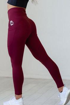Hi-Low Pocket Legging - Tawny Port leggings, high quality leggings, workout attire, gym attire for women Leggings Store, Red Leggings, Cheap Leggings, Printed Leggings, Patterned Leggings, Workout Leggings With Pockets, Workout Attire, Workout Outfits, Workout Gear