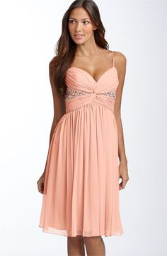 maggy london twist bodice chiffon dress from bloomingdales (in petal). Only comes in petite. $128