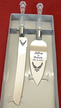 Air Force  Wedding cake Knife and Server,   Free Names and Date ($30 + $12 ship) Ebay