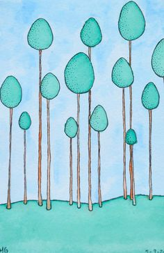 """""""Pom Trees"""" original ink and watercolor illustration."""