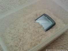Phone buried in rice.