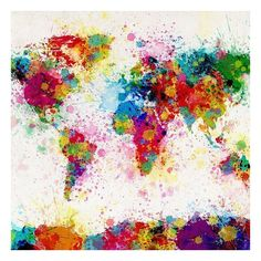 World Map Paint Splashes ❤ liked on Polyvore featuring home, home decor, wall art, backgrounds, art, rainbow, map pouch, map poster, metal wall art and map wall art