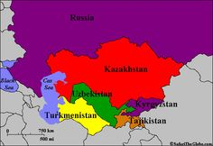 Map of Central Asia, a relatively untravelled part of the world, which lay at the centre of the famous Silk Road for hundreds of years