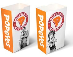 Popeye's Chicken re-branding by D.J. Stout. In 2008, D.J. Stout led a team that re-branded the well-known fast food restaurant, which included redesigning logos and other visual elements. These takeout bags are one example of the new brand.    Source: http://www.pentagram.com/en/new/dj-stout/index.php?page=7