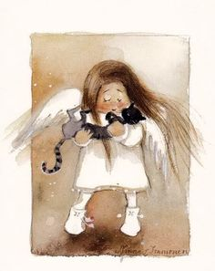 MinnaImmonen Enkeli 4602 - not availabe D N Angel, Angel Art, Illustrations, Illustration Art, I Believe In Angels, Angels Among Us, Pet Loss, Guardian Angels, Cat Drawing
