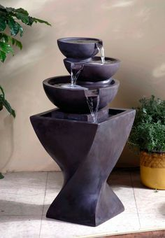 With a unique twisted basin, the Modern Tier Bowls Indoor Water Fountain is a great tiered water feature for any space. With modern elements, the Modern Tier Bowls Indoor Water Fountain Will easily be Garden Water Fountains, Stone Fountains, Water Garden, Outdoor Fountains, Garden Pool, Tabletop Fountain, Indoor Fountain, Modern Fountain, Fountain Ideas