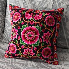 Black and Pink Hmong Hill Tribe Cushion Cover