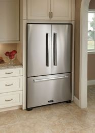 "APRO36FD-SS 36"" 19.8 cu. ft. Counter-Depth French Door Refrigerator with 4 Adjustable Glass Shelves, Humidity Controlled Drawers, Internal Water Dispenser, Ice Maker in Stainless Steel"