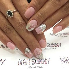 Pink and Silver Glitter Prom Nails