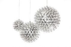 The Raimond was designed by Raimond Puts for Moooi with the intention of bringing the starry night sky indoors. The light's beauty belies its intricacy as it is actually two stainless steel grid spheres one inside the other separated at each junction by a purpose built transparent LED which also doubles as an isolator.