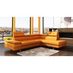 Divani Casa 5057 - Modern OrangeTufted Bonded Leather Sectional Sofa