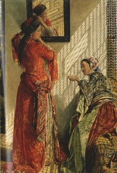 Lewis John Frederick - Indoor Gossip, Cairo, oil on canvas. John Frederick Lewis was an Orientalist English painter. He specialized in Oriental and Mediterranean scenes and often worked in exquisitely detailed watercolour. Jean Leon, Empire Ottoman, Oil On Canvas, Canvas Prints, Foto Poster, Exotic Art, Illustration Art, Illustrations, Oil Painting Reproductions