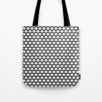 Floral Black and White  Tote Bag
