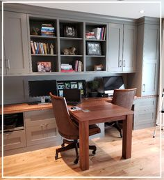"Whether it's your day job, getting homework done, or completing administrative tasks (like taxes!), you likely spend at least a few hours a week ""working"" from home. So it's only appropriate that we take this opportunity to showcase one of our most recent custom projects - a custom home office uniquely designed with 2 workstations and lots of storage space! Natural light and a functional (but not secluded) workspace will no doubt lead to impressive productivity and encouraging camaraderie."