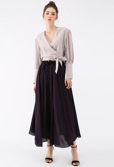 aa507a028ee Dream Dancer Chiffon Maxi Skirt in Purple - Retro