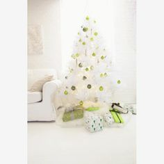 white tree, shades of green ornaments