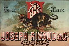 Cognac Joseph Rivaud original vintage poster from 1884 France.