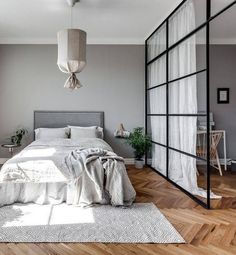 glass partition + linen curtain.
