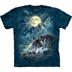 THE MOUNTAIN BARK AT THE MOON WOLVES WOLF HOWLING ANIMAL NIGHT T TEE SHIRT S-5XL
