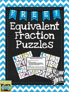 FREE Equivalent Fraction Puzzles! Focuses on students identifying equivalent fractions with numbers and pictures. This activity is great for math centers, math workshop, or early finishers!