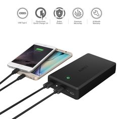 AUKEY 30000mAh Portable Charger with Quick Charge 3.0 & USB C Port for iPhone, Samsung Galaxy Note 7, Lumia 950/950 XL, Nexus 6P/5X and More  #exclusive #buyatwebsite #techlaunches #3DaysDelivery #theimmart #CODINDIA