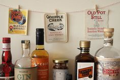 Set of three vintage American whiskey labels- hang them, frame them, or label some bottles. Perfect bar cart decor. #liquor #alcohol #whiskey #labels #bottles #vintage